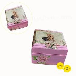 Pink Love Yorkshire Terrier Ahşap Kutu