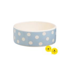 Mavi Beyaz Puanlı Porselen Mama Kabı