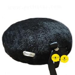 Luxury Yuvarlak Siyah Kürk Puf